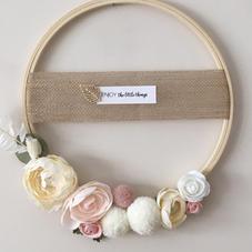 Couronne fleurie rose nude - diam 25 cm