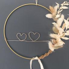 Cercle Coeurs fleurs séchées (diam 20 cm)