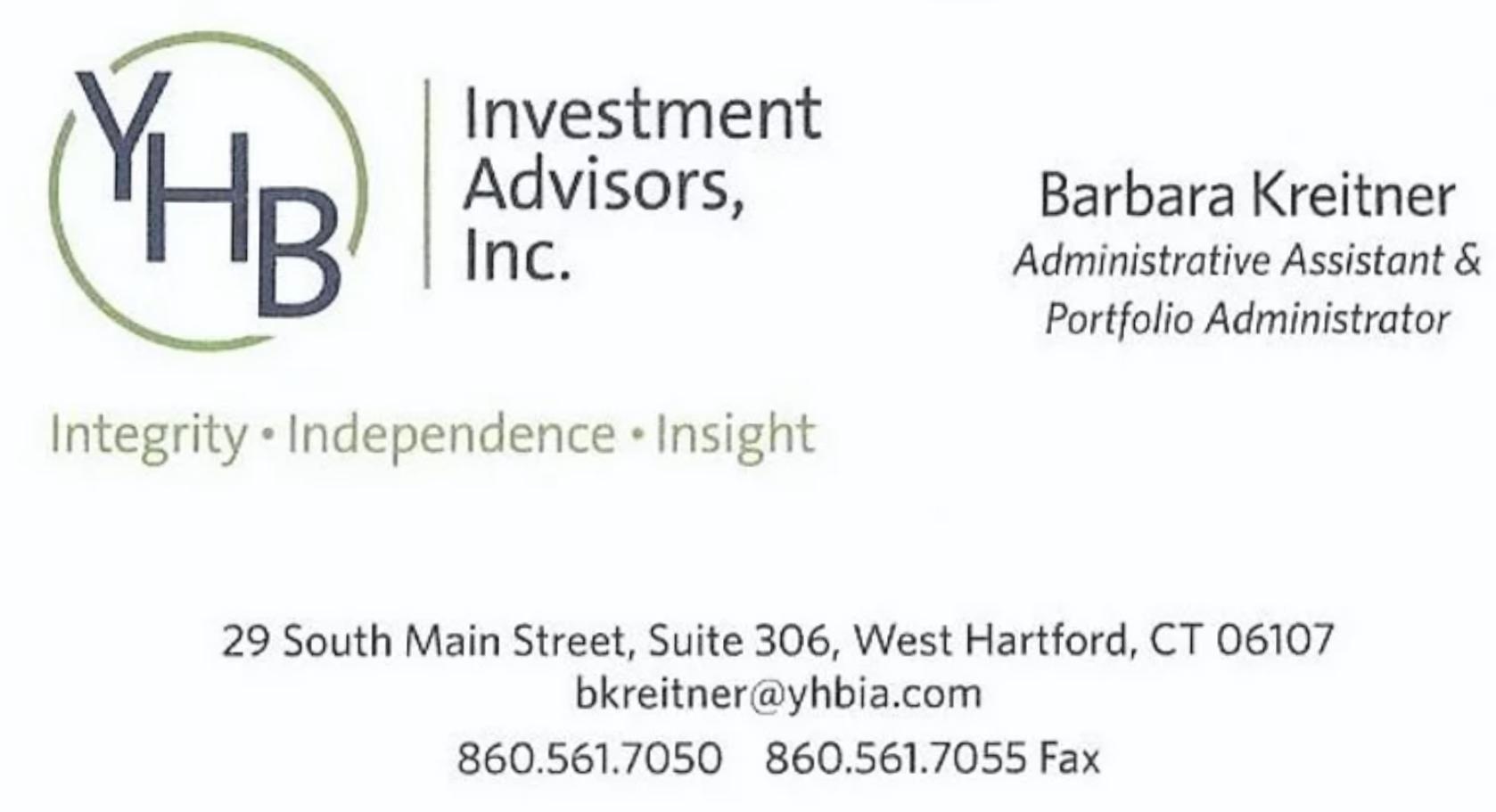 YHB Investment Advisors
