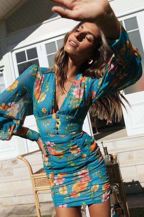 KIMANCY DRESS (AQUA)