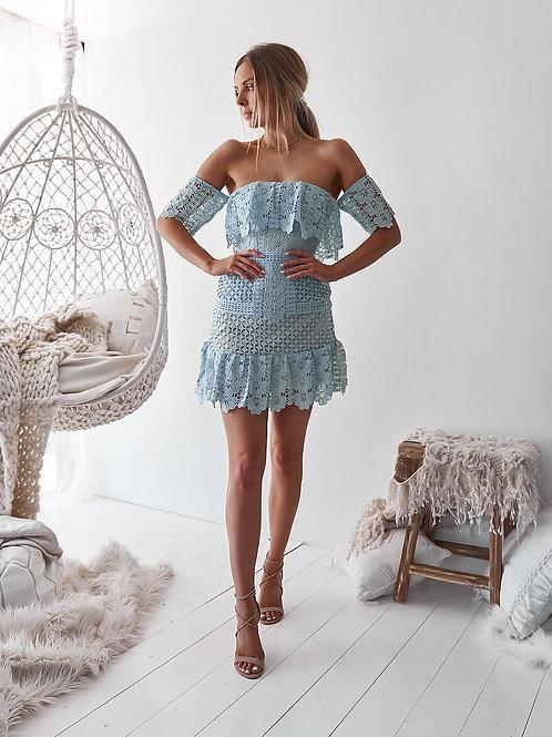 BLUE BIRD MINI DRESS-BABY BLUE