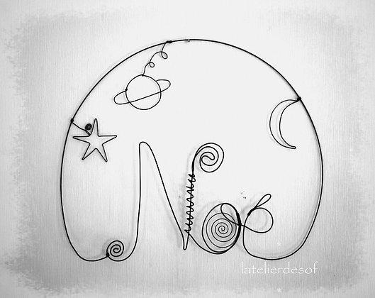 Modèle prénom lune, étoile, planète en fil de fer