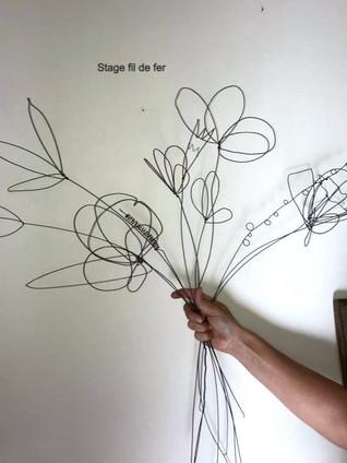 bouquet fleurs  stage fil de fer