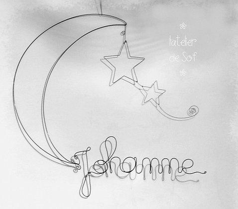 Modèle prénom la lune et les étoiles en fil de fer