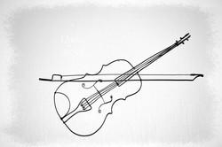 violon et archet en fil de fer