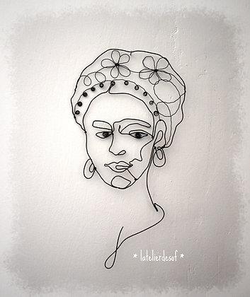 Portrait visage en fil de fer Frida Khalo