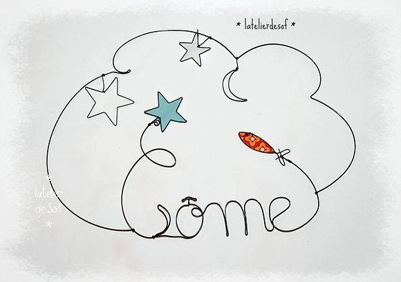 Prénom Couleur étoiles, lune et poisson en fil de fer