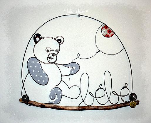 Prénom Couleur ours et ballon en fil de fer