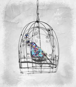 cage et oiseau bleu fil de fer