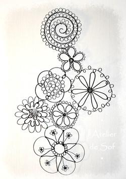 fleurs tableau mural fil de fer