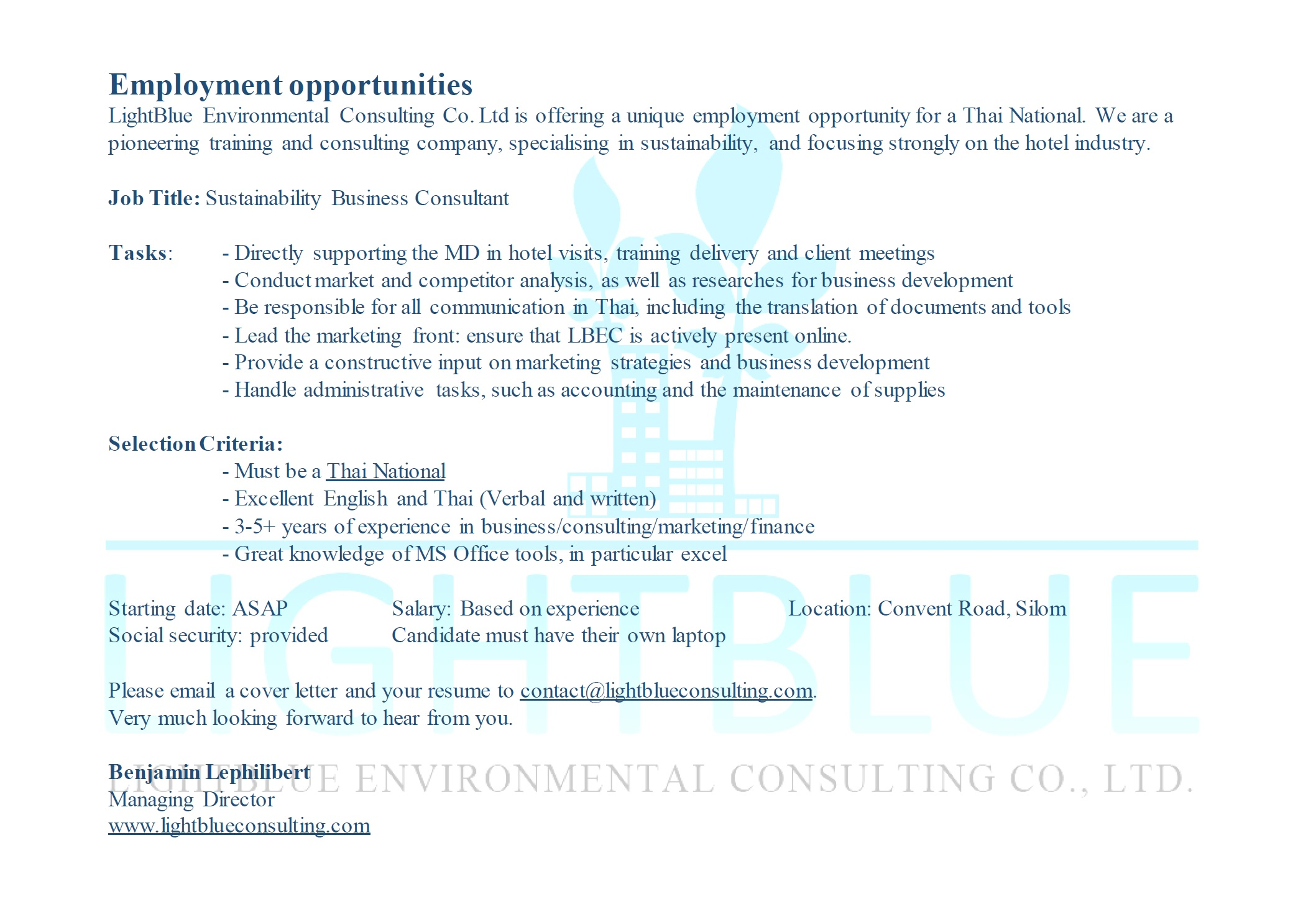 WANTED: Sustainability Business Consultant, Thai national