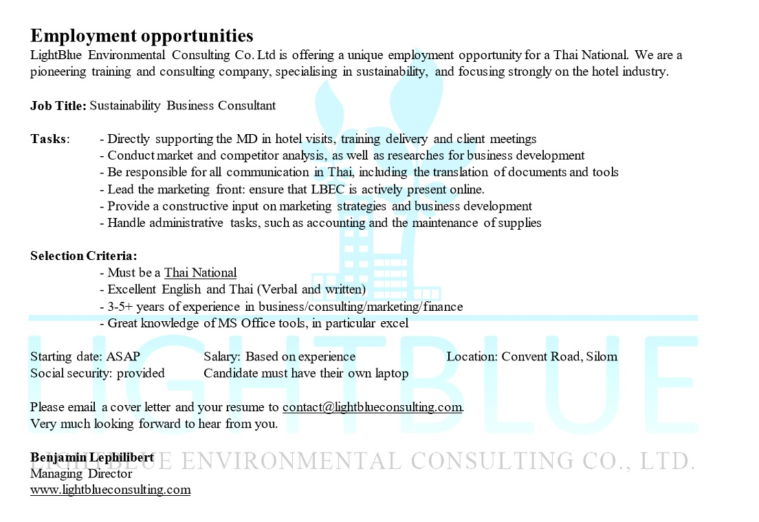 Employment Opportunity - Sustainability Business Consultant