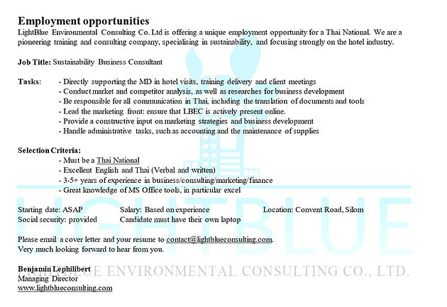 Employment Opportunity Sustainability Business Consultant