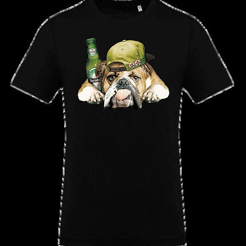 Tee shirt bulldog biere