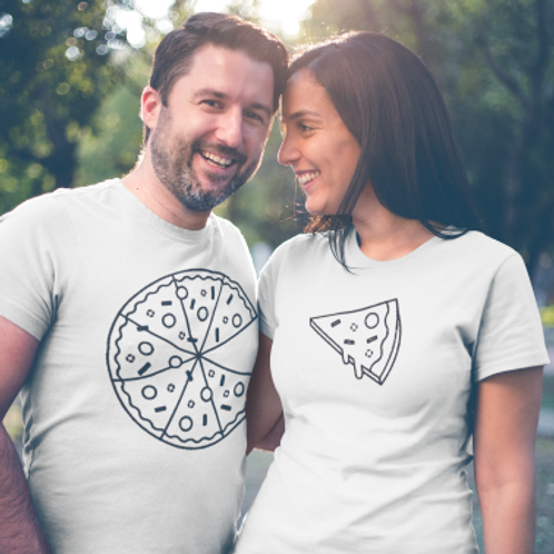 Tee shirt couple pizza