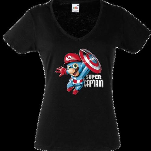 tee shirt mario captain america femme