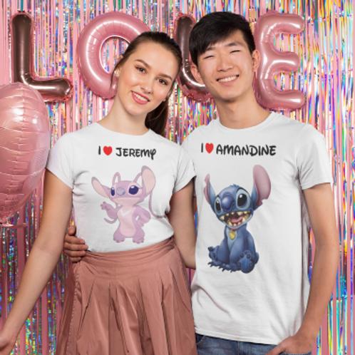 Tee shirt couple stitch et angel