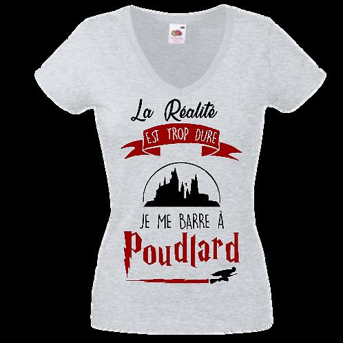 tee shirt la réalité est trop dure Poudlard femme