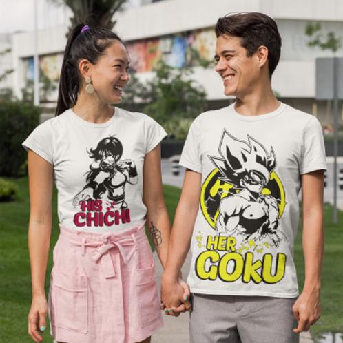 Tee shirt couple dragonball sangoku chichi