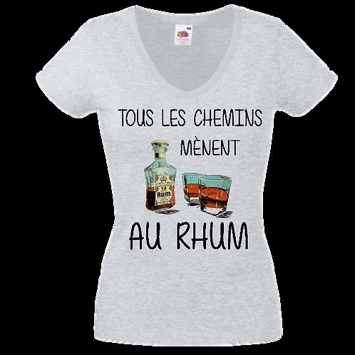 tee shirt Tous les chemins mènent au Rhum femme
