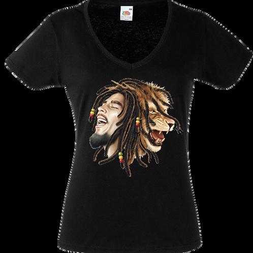 tee shirt bob marley lion femme