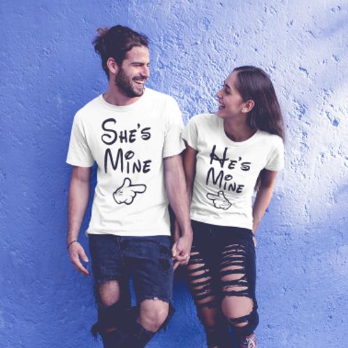 Tee shirt couple she is mine he is mine