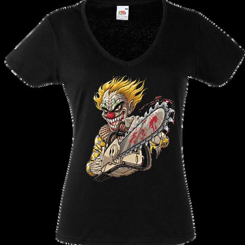 tee shirt clown tronconneuse femme