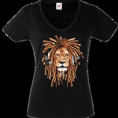 tee shirt lion rasta femme