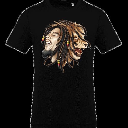 tee shirt bob marley lion