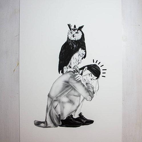 Woman with owl - Fine art print