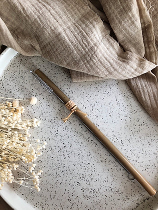 Lot paille Bambou & goupillon de nettoyage