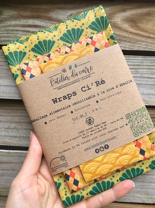 Lot de 3 Wraps Ci'Ré - Emballage alimentaire à la cire d'abeille
