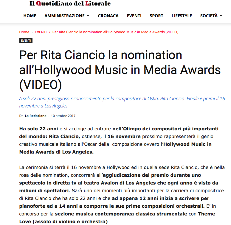 Hollywood Music Awards Nomination