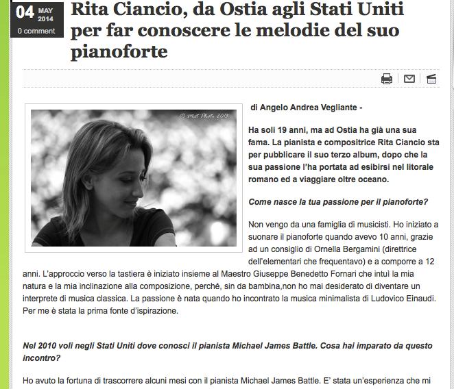 """Intervista per """"Roma Che Verrà"""""""