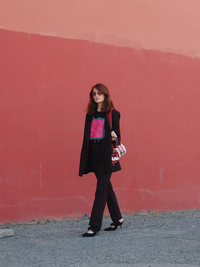 Black T-Shirt with Neon Pink Jeans Patch