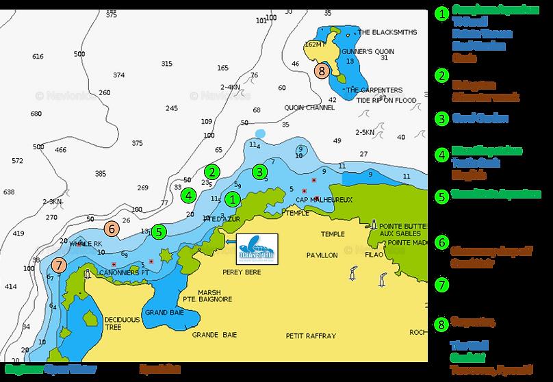 Ocean Spirit scuba diving dive sites Mauritius map
