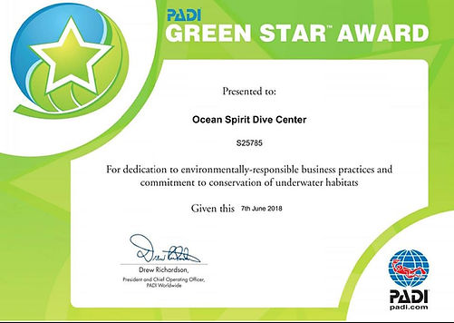 PADI green star award environmental scuba diving Mauritius