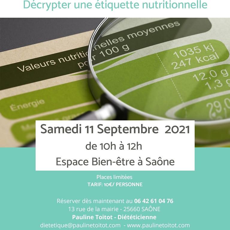 Atelier nutritionnel 10€