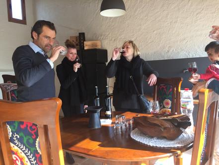 Our Canadian importer tasting Meritxell Pallejà ´s wines in Gratallops, D.O.Ca.Priorat.