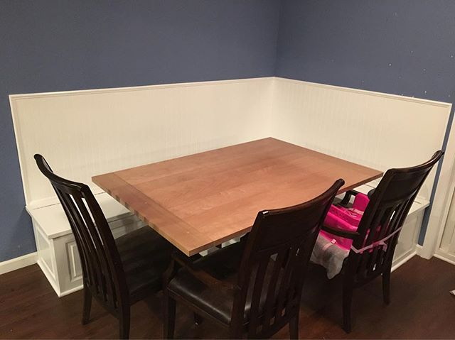 Cherry Dining Table and Built In Benches