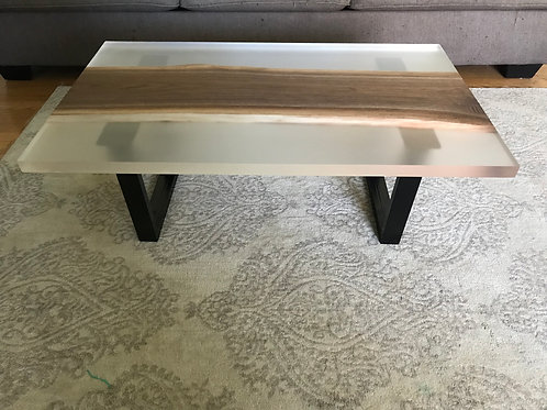 Cast Walnut and Resin Coffee Table