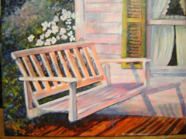 Sunny porch oil painting
