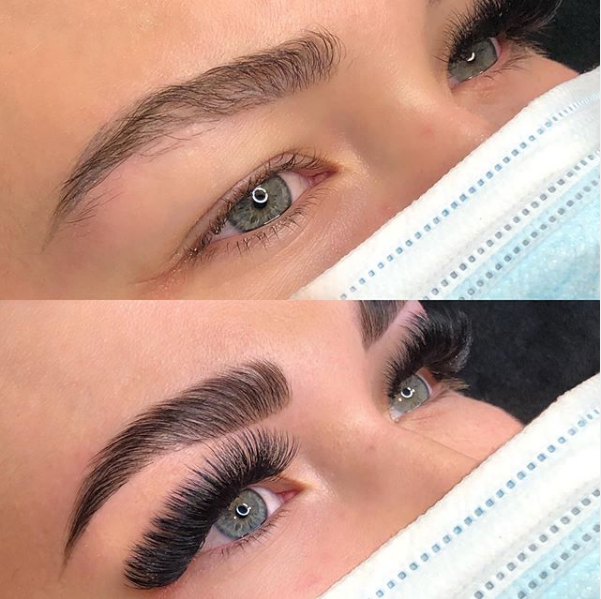 brow lamination and volume lash extensions