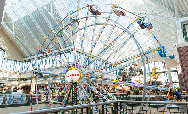 Ferris wheel in sporting goods store to entertain customers