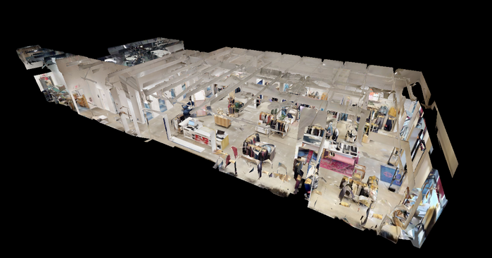 A dollhouse view of a retail store captured using immersive technology