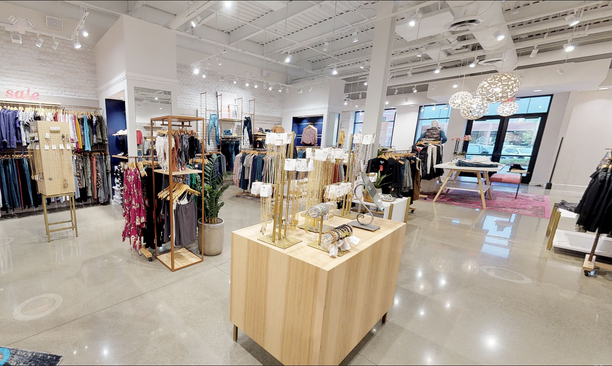 Inside a luxury women's clothing store