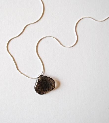 Sea Oak Brown, Seaweed Bead, Necklace. Silver.