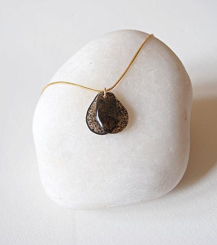 Sea Oak Brown, Seaweed Bead, Necklace. Gold.