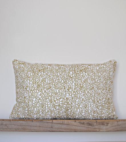 Meandering Ripples Cushion. Seaweed Green.