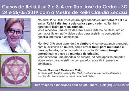 Cursos de Reiki Usui 2 e 3-A em São José do Cedro - SC - 24 e 25/05/2019